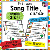 Grade 3 - 4 Printable Song Title Cards, over 35 Kodaly Fol