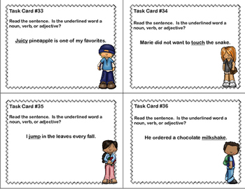 Grade 3- 40 Literacy Task Cards-Find The Nouns, Verbs, and Adjectives
