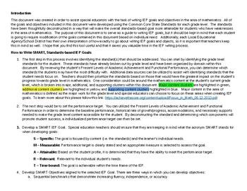 Grade 3-5 IEP Common Core Aligned IEP Goal Bank