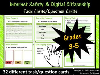 Grade 3-5: Internet Safety Task Cards - Common Sense Media Aligned