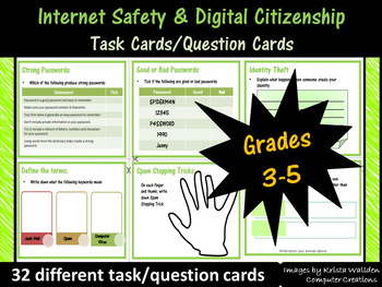 Grade 3-5: Internet Safety Task Cards - Mapped to Common Sense Media