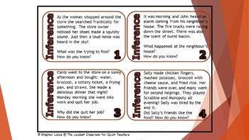 Grade 3 - 6 Inference Task Cards!