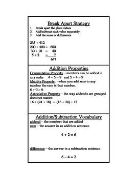 Grade 3-6 Math Help Cards
