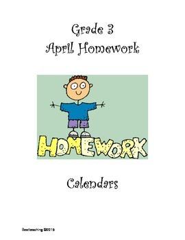 Grade 3 April Homework Calendar