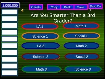 "Grade 3 ""Are You Smarter Than A Third Grader?"" PPT game - Alberta curriculum"