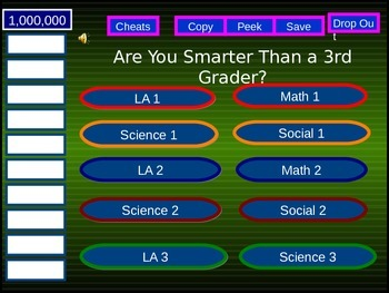 "Grade 3 ""Are You Smarter Than A Third Grader?"" PPT game - Alberta curriculum"