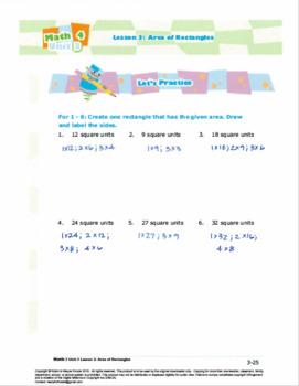 Grade 3: Math:Area&Measurement:L2:Area of Rectangles Worksheet 3.MD.C.6 3.MD.C.7