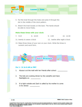 Grade 3: Math: Area and Measurement: L3: Time Worksheet 3.MD.A.1