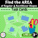 Grade 3-Area of Regular & Rectilinear Shapes-Task Cards(CCSS 3.MD.C7d) (TEKS 6d)