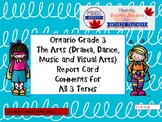 Grade 3 Arts (All 4 Arts) Report Card Comments, ALL TERMS!