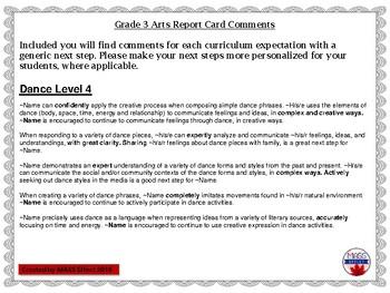 Grade 3 Arts (All 4 Arts) Report Card Comments, ALL TERMS!