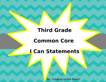 Grade 3 Beach Themed ELA I Can statements