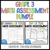 Grade 3 Beginning and End of Year Math Assessment Bundle
