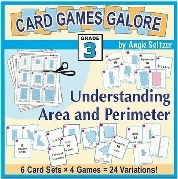 Understanding Area and Perimeter: Grade 3 MATH CARD GAMES GALORE BUNDLE