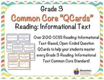 Grade 3 Informational Text Question Cards Task Cards - ANY