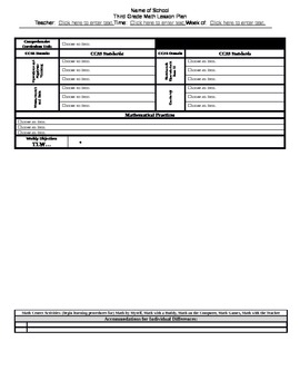 Grade 3 CCSS Math Lesson Plan Template (not MAC compatible!)