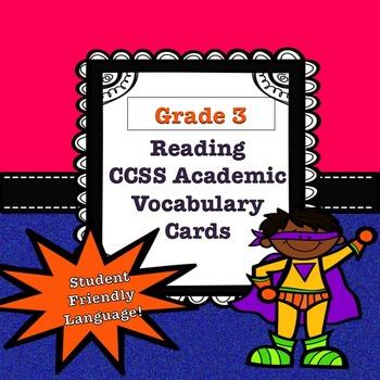 Grade 3 CCSS Reading Academic Vocabulary Cards