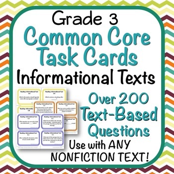 Task Cards - EDITABLE Text-Based Questions for ANY NONFICTION TEXT - Grade 3