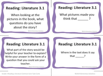 Task Cards - EDITABLE Text-Based Questions for ANY BOOK - Grade 3