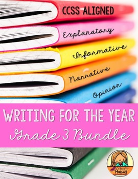 Grade 3 CCSS Writing for the Year BUNDLE: Narrative, Opinion, How-To, & Research
