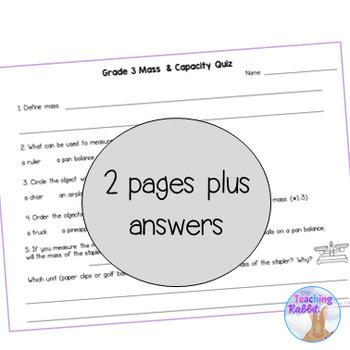 Grade 3 Capacity Quiz