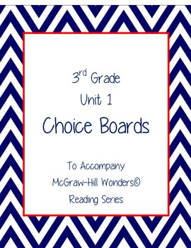 3rd Grade Reading Wonders Choice Boards for Unit 1