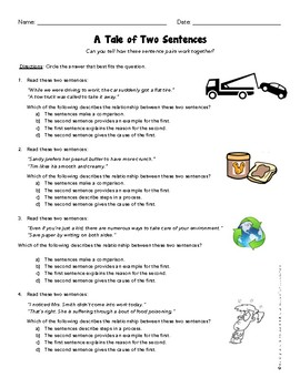 Grade 3 ELA Mini Test Prep Quiz 3 RI 3 Sentence Relationships Structures