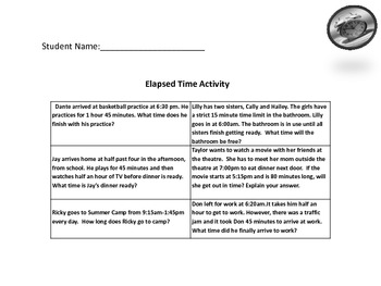 Grade 3 Common Core Elapsed Time