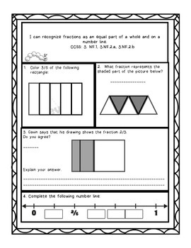 Grade 3 Common Core Number and Operations-Fractions Assessment