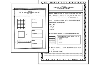 Grade 3 Common Core Geometry/Perimeter/Area Assessments