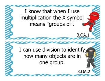 "Grade 3 Common Core "" I Can"" Statements - Ninja Themed! Both Math and ELA"
