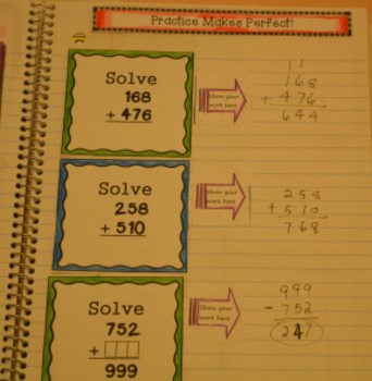 Grade 3 Common Core Interactive Notebook Number and Operations in Base Ten