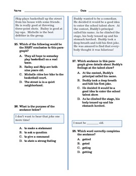 Grade 3 Common Core Language and Writing Practice #2