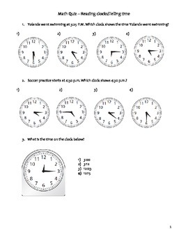 Free Grade 3 Common Core Math Quiz - Telling and Working with Time