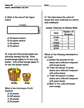 PARCC Grade 3 Common Core Measurement & Data Review