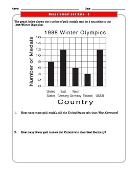 Grade 3 Common Core Math:  Measurement and Data Worksheets 3.MD.B.3 #3