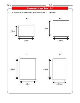 Grade 3 Common Core Math:  Measurement and Data Worksheets 3.MD.C.5-7 #3