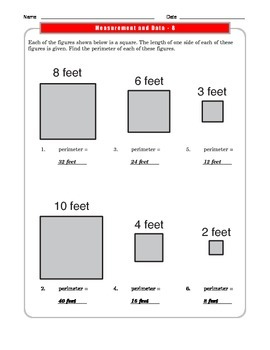 Grade 3 Common Core: Measurement and Data Math Worksheet 3.MD.D.8 #1