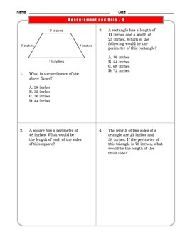 Grade 3 Common Core Math : Measurement and Data Worksheet 3.MD.D.8 #2