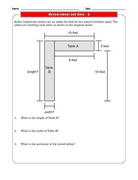 Grade 3 Common Core Math:  Measurement and Data Worksheet 3.MD.D.8 #3