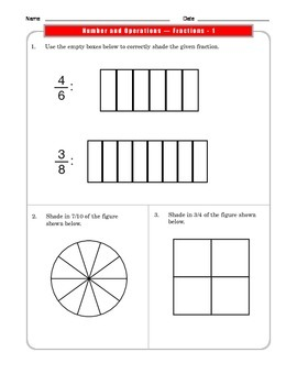 Grade 3 Common Core:  Number and Operations/Fractions 3.NF.A.1 #1-3