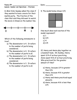 PARCC Grade 3 Common Core Numbers & Operations Fractions Review