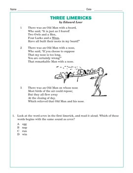 Grade 3 Common Core Reading: 3 Limericks
