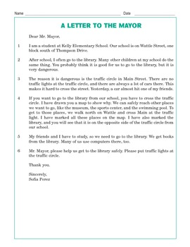Grade 3 Common Core Reading: A Letter to the Mayor