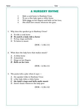 Grade 3 Common Core Reading: A Nursery Rhyme