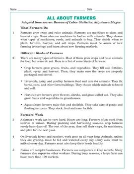 Grade 3 Common Core Reading: All About Farmers