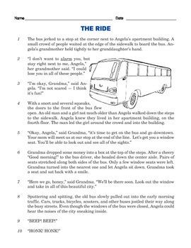 Grade 3 Common Core Reading: Angela's Bus Trip