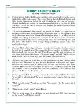 Grade 3 Common Core Reading: Bunny Rabbit's Diary