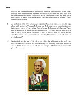 Grade 3 Common Core Reading: Informational Text about Benjamin Banneker