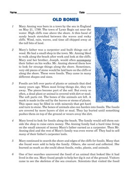 Grade 3 Common Core Reading: Informational Text on Mary Anning's Fossils